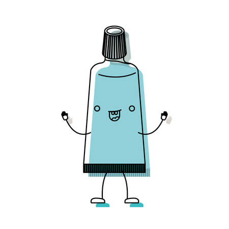 gum paste: toothpaste cartoon in watercolor silhouette vector illustration Illustration