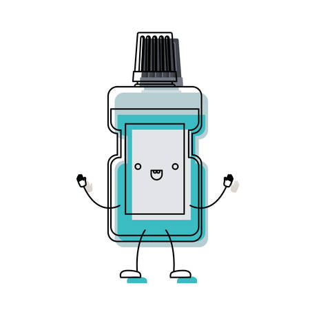mouthwash bottle cartoon in watercolor silhouette vector illustration