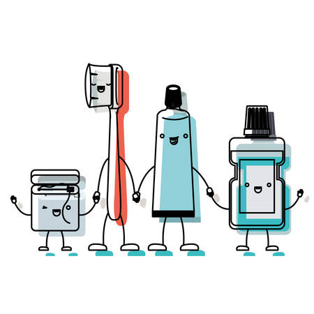 dental floss and toothbrush and toothpaste and mouthwash in cartoon holding hands in watercolor silhouette vector illustration