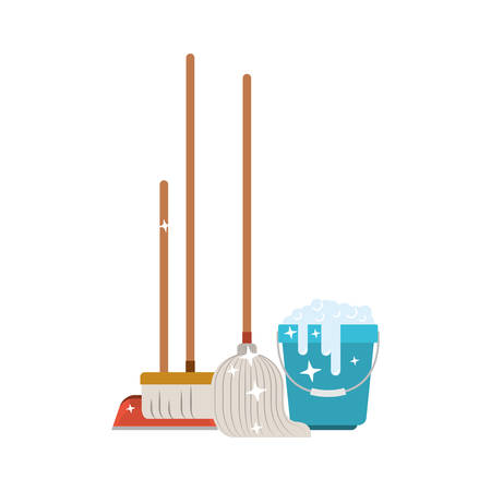dustpan and broom and mop and bucket with water and soap detergent in colorful silhouette vector illustration