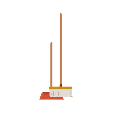 dustpan and broom in colorful silhouette vector illustration