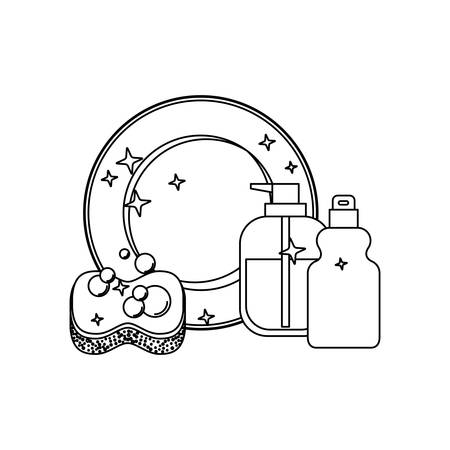 dish and sponge and dishwasher soap in monochrome silhouette vector illustration
