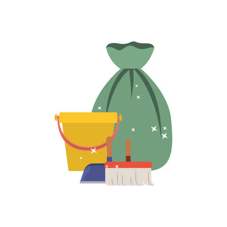 bucket and dustpan and broom and garbage bag in colorful silhouette vector illustration