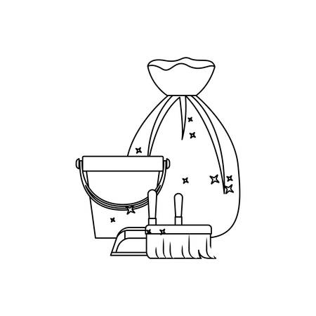 kitchen cleaning: bucket and dustpan and broom and garbage bag in monochrome silhouette vector illustration Illustration