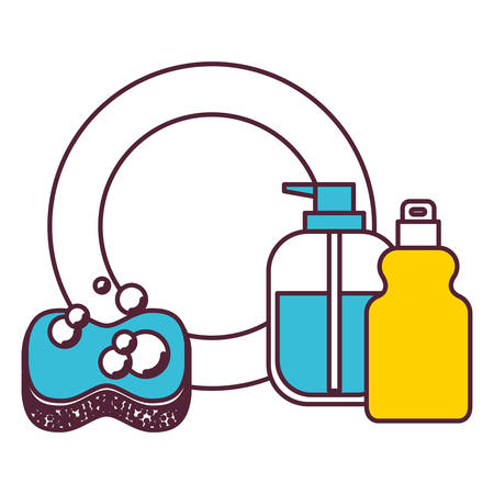dishwashing liquid: dish and sponge and dishwasher soap in color sections silhouette vector illustration
