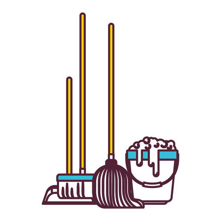 dustpan and broom and mop and bucket with water and soap detergent in color sections silhouette vector illustration Illustration