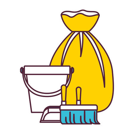 bucket and dustpan and broom and garbage bag in color sections silhouette vector illustration