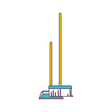 sweeper: dustpan and broom in color sections silhouette vector illustration