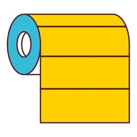 roll paper towel in color sections silhouette vector illustration