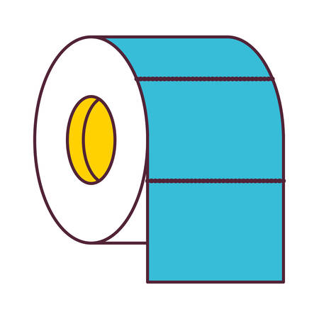 roll paper: toilet paper roll in color sections silhouette vector illustration