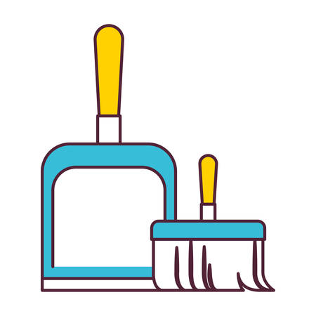 dustpan and hand broom in color sections silhouette vector illustration
