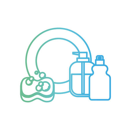 dish and sponge and dishwasher soap in degraded green to blue color contour vector illustration