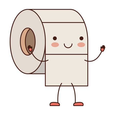 Toilet paper roll cartoon character.