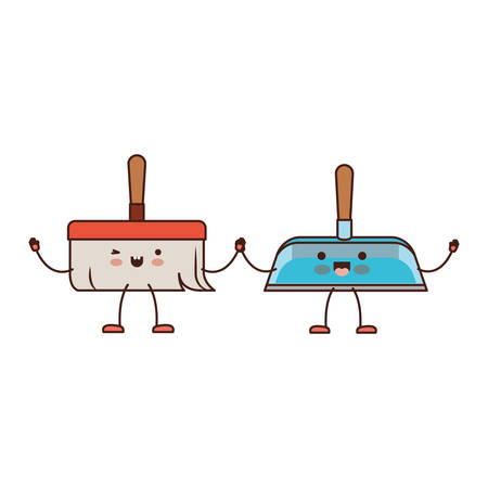 kawaii cartoon hand dustpan and hand broom holding hands in colorful silhouette vector illustration