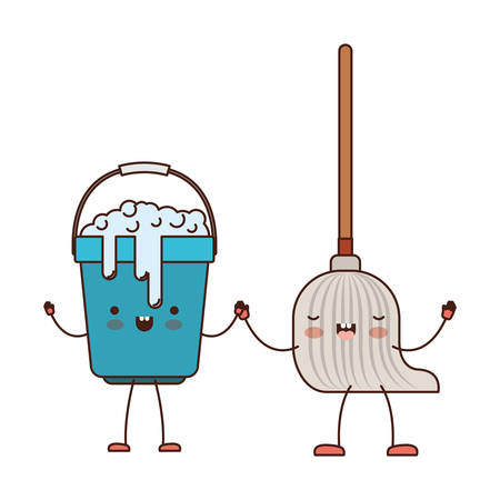 cartoon bucket with soapy water and mop holding hands in colorful silhouette vector illustration