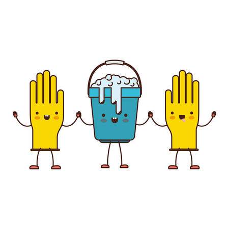 cleaning kitchen: cartoon gloves and bucket with soapy water holding hands in colorful silhouette vector illustration