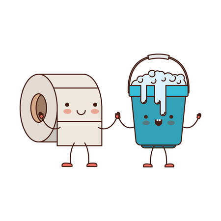 wiping: Toilet paper roll and bucket cartoon character.
