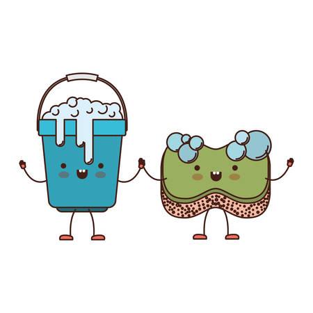 Cubo de dibujos animados con mango y lleno de agua con jabón detergente y esponja tomados de la mano en la silueta colorida ilustración vectorial Foto de archivo - 88887830