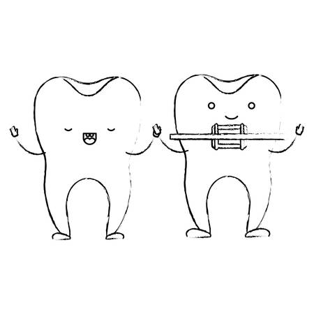 teeth cartoon holding hands and one with dental brace in monochrome blurred silhouette vector illustration
