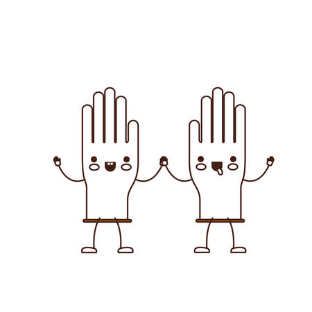 Pair of gloves holding hands cartoon character.