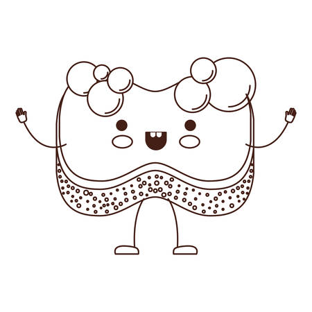 cartoon sponge with bubbles of soap in brown silhouette vector illustration