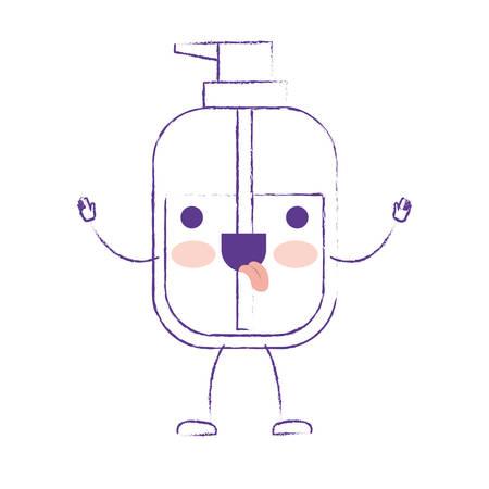 cartoon liquid soap bottle dispenser in purple blurred silhouette vector illustration Illustration