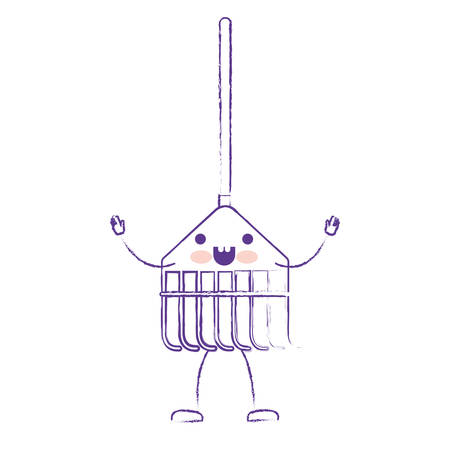 wooden stick: cartoon rake leaves with wooden stick in purple blurred silhouette vector illustration Illustration