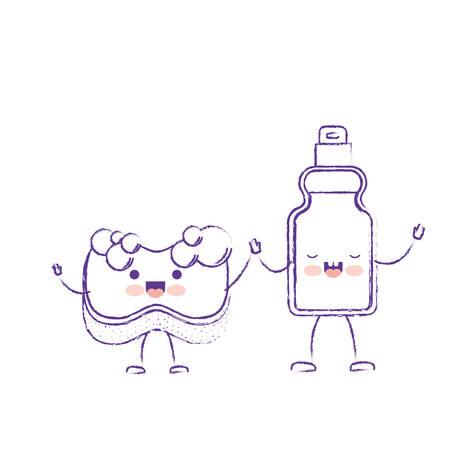 antiseptic: cartoon sponge and detergent bottle holding hands in purple blurred silhouette vector illustration Illustration