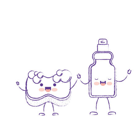cartoon sponge and detergent bottle holding hands in purple blurred silhouette vector illustration Illustration