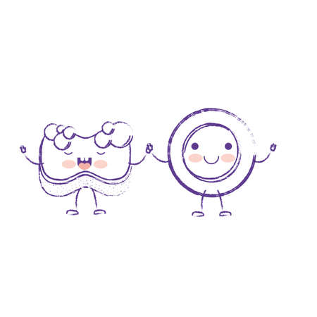 Dish and sponge holding hands cartoon character. Illustration