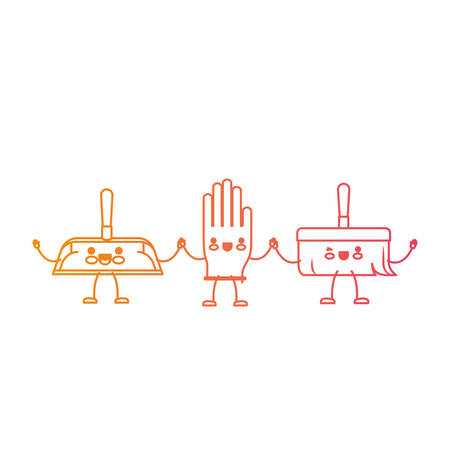 cartoon hand broom and glove and hand dustpan holding hands in degraded yellow to magenta silhouette vector illustration Illustration