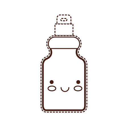 detergent bottle in brown dotted silhouette vector illustration Illustration