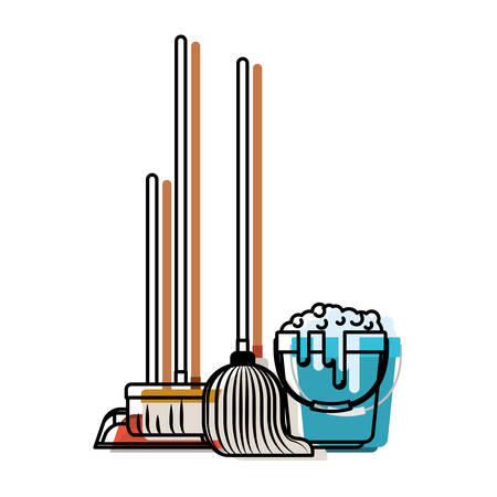 dustpan and broom and mop and bucket with water and soap detergent in colorful watercolor silhouette vector illustration