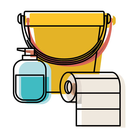 bucket and liquid soap and roll paper towel in colorful watercolor silhouette vector illustration Illustration
