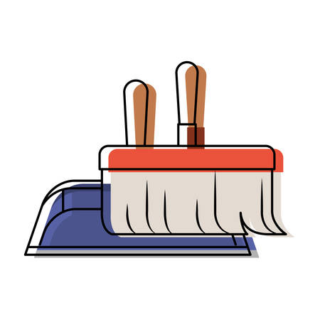 dustpan and hand broom in colorful watercolor silhouette vector illustration