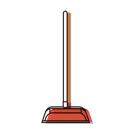 dustpan with wooden stick in colorful watercolor silhouette vector illustration Illustration