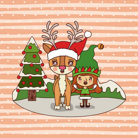 Christmas card with reinder and elf. Illustration