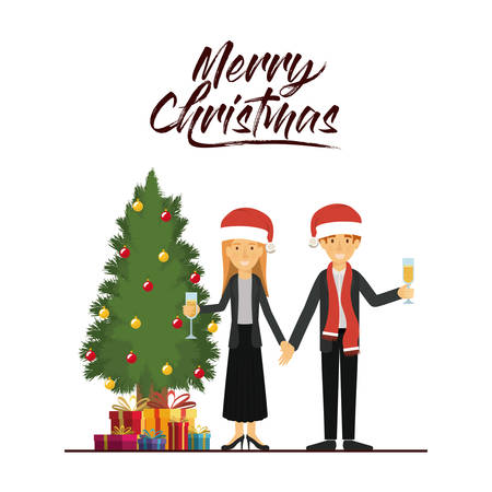 joyeux noël carte de couple célébrer noël avec verre à champagne à côté de l & # 39 ; arbre avec des cadeaux et des jouets de quelques verres avec un chapeau rouge et l & # 39 ; illustration vectorielle