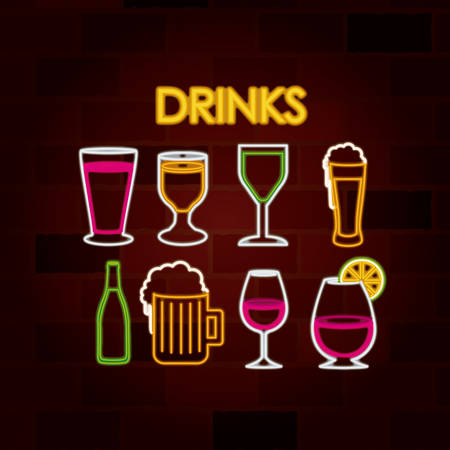 drinks set of neon sign on brick wall vector illustration