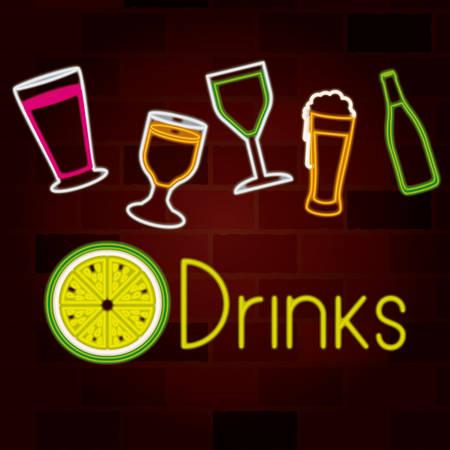 glass drinks set on neon sign on brick wall vector illustration Illustration
