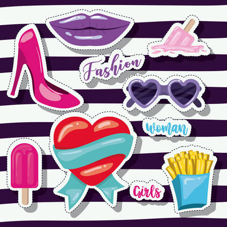 french culture: fashion woman girls elements sticker on pop art striped purple background vector illustration