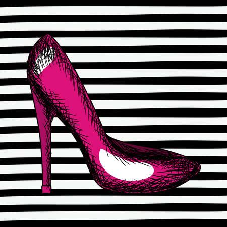 magenta heel shoe sketch in pop art on black striped background vector illustration