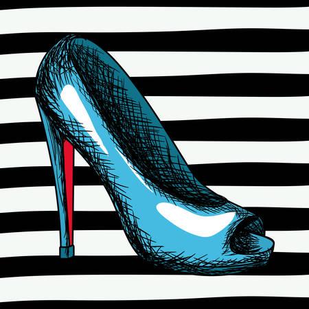 blue heel shoe sketch in pop art on black striped background vector illustration