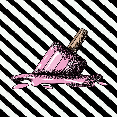 helados con palito: paleta de helado en el arte pop en la ilustración de vector de fondo rayado diagonal negro