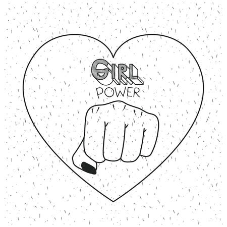 girl power poster text and fist symbol in heart black silhouette over white background with sparkles vector illustration Illustration