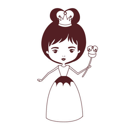 queen with crown and scepter in brown dotted silhouette on white background vector illustration Illustration