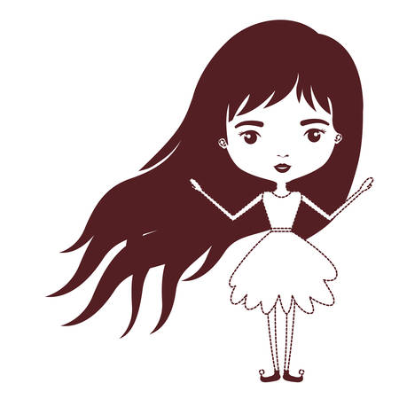 sprite: girly fairy without wings and long hair in brown dotted silhouette on white background vector illustration
