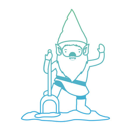 gnome with costume and shovel in degraded green to blue color contour vector illustration Illustration