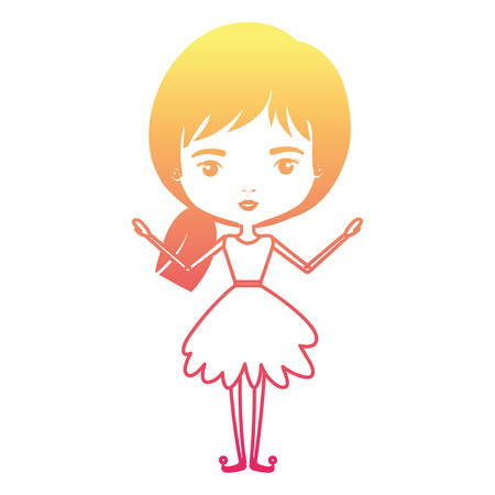 girly fairy without wings and short collected hair in degraded magenta to yellow color contour vector illustration