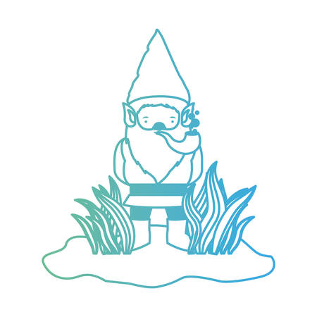 gnome coming out of the bushes with smoking pipe in degraded green to blue color contour vector illustration Illustration